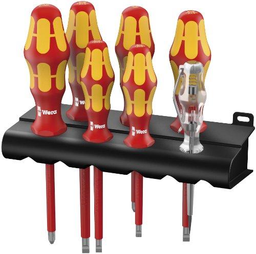 Wera Schraubendrehersatz 160 i/165 i/7 Rack Kraftform Plus + Spannungsprüfer + Rack, 7-teilig, 05006148001
