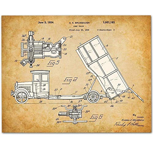 Dump Truck - 11x14 Unframed Patent Print - Makes a Great Art Gift Under $15 for Boy