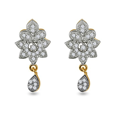 Fasherati Rhodium Plated CZ Floral Earrings for Women