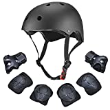 Dostar Kids Youth Adjustable 7Pcs Sports Protective Gear Set Safety Pad Safeguard (Helmet Knee Elbow Wrist) Roller Bicycle BMX Bike Skateboard Hoverboard and Other Extreme Sports Activities (Black)