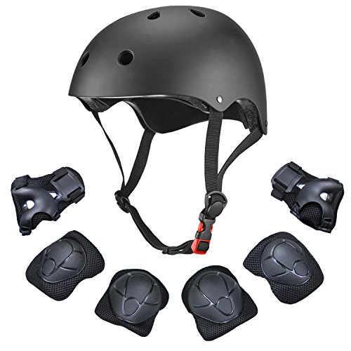 Bmx Bicycle Helmets (Dostar Kids Youth Adjustable 7Pcs Sports Protective Gear Set Safety Pad Safeguard (Helmet Knee Elbow Wrist) Roller Bicycle BMX Bike Skateboard Hoverboard and Other Extreme Sports Activities (Black))