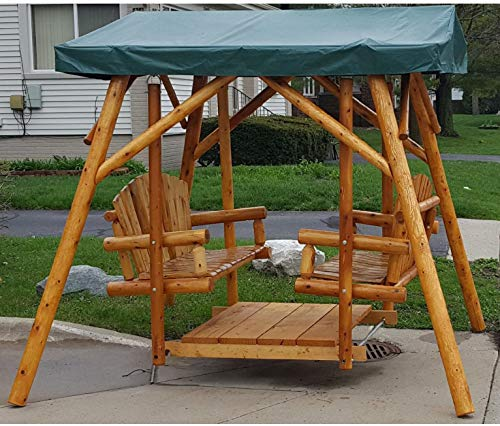Moon Valley Rustic Outdoor Cedar Double Glider with Optional Canopy - Lead Time 14 Business Days