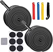 YMUAN 2 Pack Bicycle Bike Inner Tubes Plus 4 Tire Levers, 20 22 24 26x1.75/1.95/2.10/2.125 Schrader Valve Road