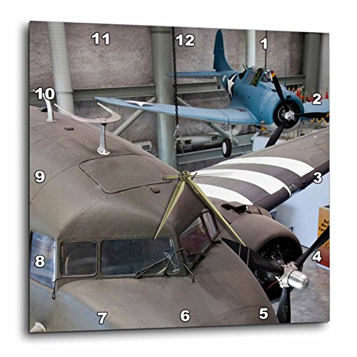 3dRose 3D Rose Louisiana, New Orleans, WWII Museum Vintage Planes – US19 WBI0263 – Walter Bibikow – Wall Clock, 15-inch (DPP_90504_3) For Sale