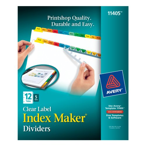 Avery Clear Label Dividers with Multi Color Tabs, 12 Tabs, 5 Sets of 12 Tabs per Box (11405)