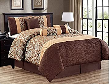 amazon com jacquard queen bedding brown gold modern pin tuck