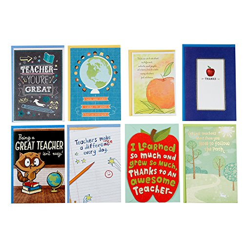 (Hallmark Teacher Appreciation Card Assortment for Day Care, Preschool, Elementary School, Graduation or Back to School (8 Cards with Envelopes))