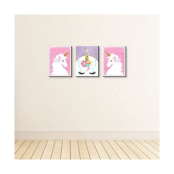Big Dot of Happiness Rainbow Unicorn - Baby Girl Nursery Wall Art and Kids Room Decorations - 7.5 x 10 inches - Set of 3 Prints 5