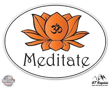 Meditate Om Lotus Vinyl Sticker Waterproof Decal