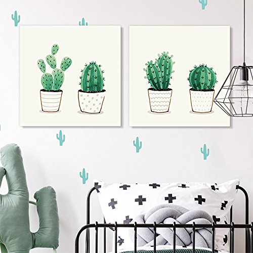 2 Panel Square Green Cactus in Pots x 2 Panels