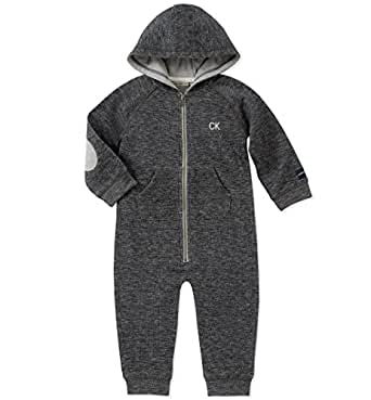 Calvin Klein Baby Boys Coverall, Peacoat Heather, 3-6 Months