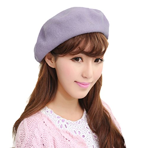 Chic 100% Wool Winter Warm Classic French Beret Beanie Hat Cap for Women Girls - Solid Color