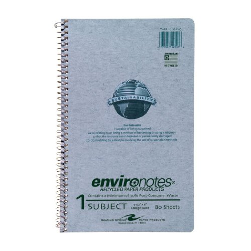 Roaring Spring Recycled Paper Wirebound Notebook, One Subject, 9.5 x 6 Inches, 80 sheets, College Ruled, Grey Covers (12001)