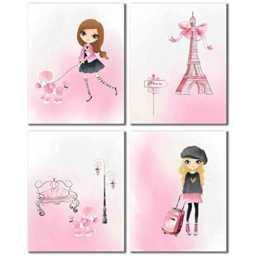 Pink Paris Decor Prints - Girl's Room Wall Art Photos - Set of Four - Pictures Water Place Tower