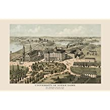 "Notre Dame 1842 University of Notre Dame South Bend Indiana Bird's Eye View Map American Vintage Poster Repro 12"" X 16"" Image Size. We Have Other Sizes Available!"