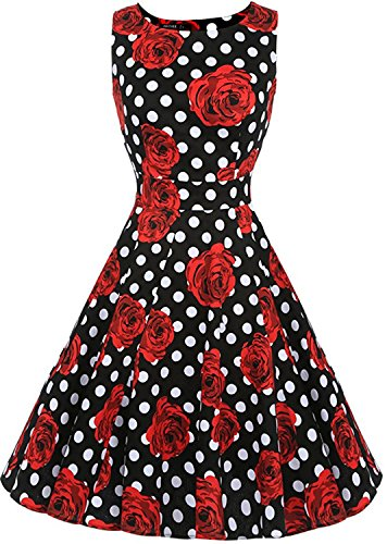 eck Sleeveless Vintage Polka Dot Prom Cocktail Swing Dress Dr03 (Black, X-Large) (Polka Dot Cocktail Dresses)