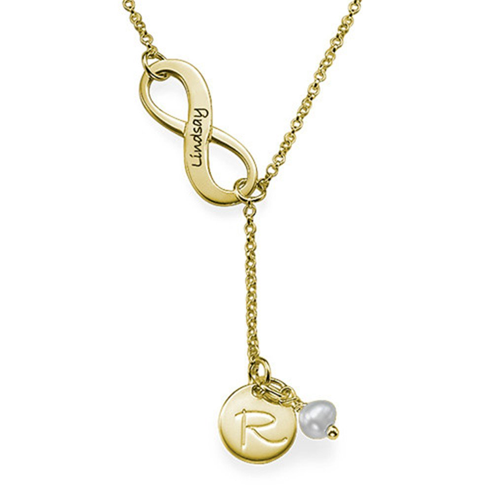 zgshnfgk Personalized Infinity Shaped Lucky Stone Necklace Fashion Custom Name Necklace