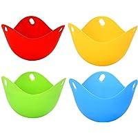 4 Pack Egg Poacher Cups, Perfect Gepocheerde Eieren, Egg Maker Niet-gepocheerde Eieren Cups BPA Gratis Siliconen Ei…