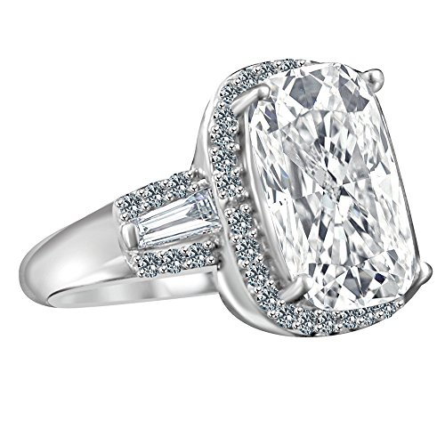 Diamond Veneer - 8 Ct. Cushion Radiant Center Halo Setting Side Tapered Baguettes Simulated Diamond Ring (Clear, 6)