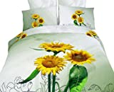 Dolce Mela DM423K Sunflowers King Duvet Cover Set