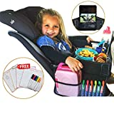 Newest Travel Tray for kids in car - Toddlers activities, snack & play car tray - dry erase - tablet/phone holder – Organizer back seat & airplane - Portable, Waterproof & Foldable - Food &Toy storage