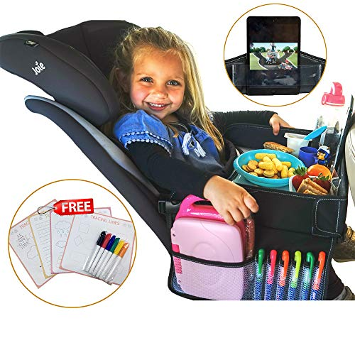 - Newest Travel Tray for kids in car - Toddlers activities, snack & play car tray - dry erase - tablet/phone holder – Organizer back seat & airplane - Portable, Waterproof & Foldable - Food &Toy storage