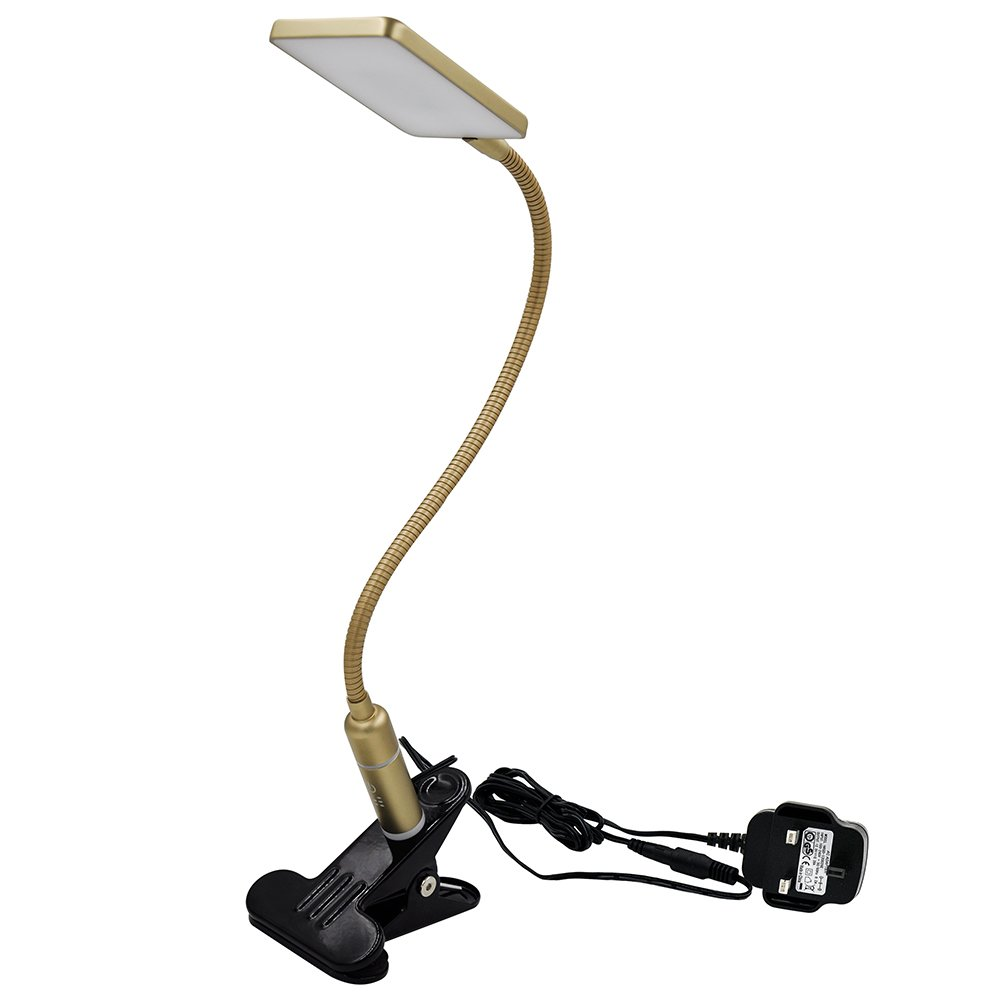 ENUOTEK Touch Control Dimmable Clip On LED Table Lamp Metal Gold LED Desk Lamp Swing Arm LED Reading Light Eye Care Natural White Lighting Color by [Energy Class A+]