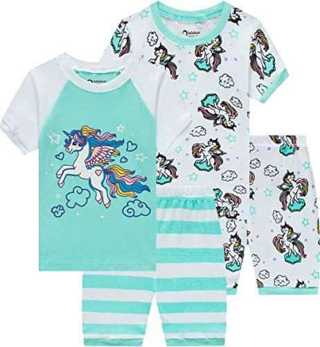(Pajamas for Girls Summer Baby Clothes Kid Children Horse PJs Short Set 4 Pieces Sleepwear)