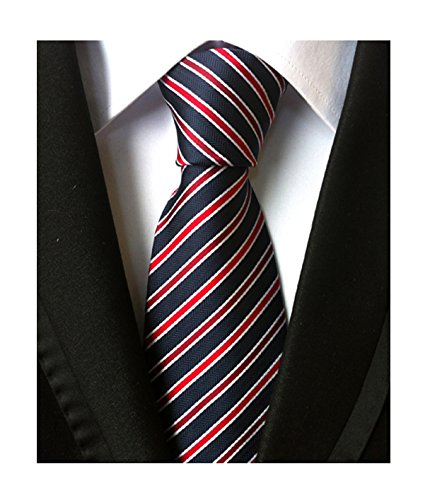 (Men Boy Stripe Navy Blue Red Tie Luxury Fashion Formal Handmade Designer Necktie)