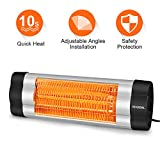 VIVREAL Electric Patio Heater, 1500W Infrared Heater/Garage Heater with 1-Sec Heat-Up, Indoor/Outdoor Wall Heater with 3 Temperature Mode, Space Heater Ideal for 190 Sq.Ft Workshop Room or Office