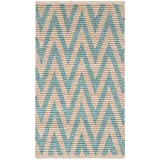 Safavieh Cape Cod Collection CAP863J Hand Woven Chevron Natural and Turquoise Jute and Cotton Area Rug (2'3' x 3'9')