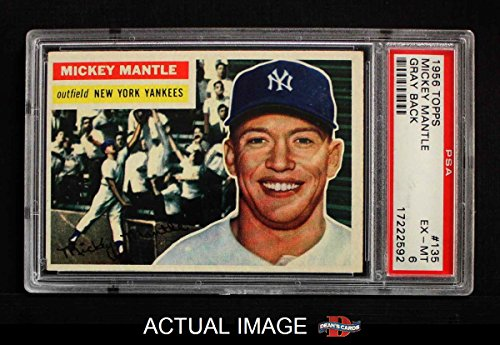 1956 Topps # 135 Mickey Mantle New York Yankees (Baseball Card) PSA 6 - EX/MT Yankees