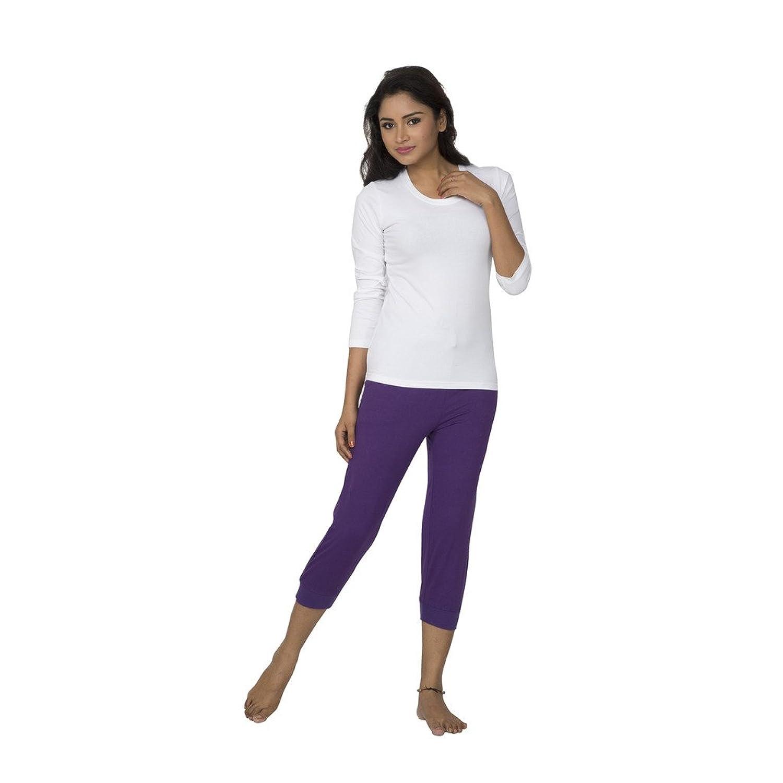 Clifton Womens Cuffed Cropped Comfort Capri - Purple