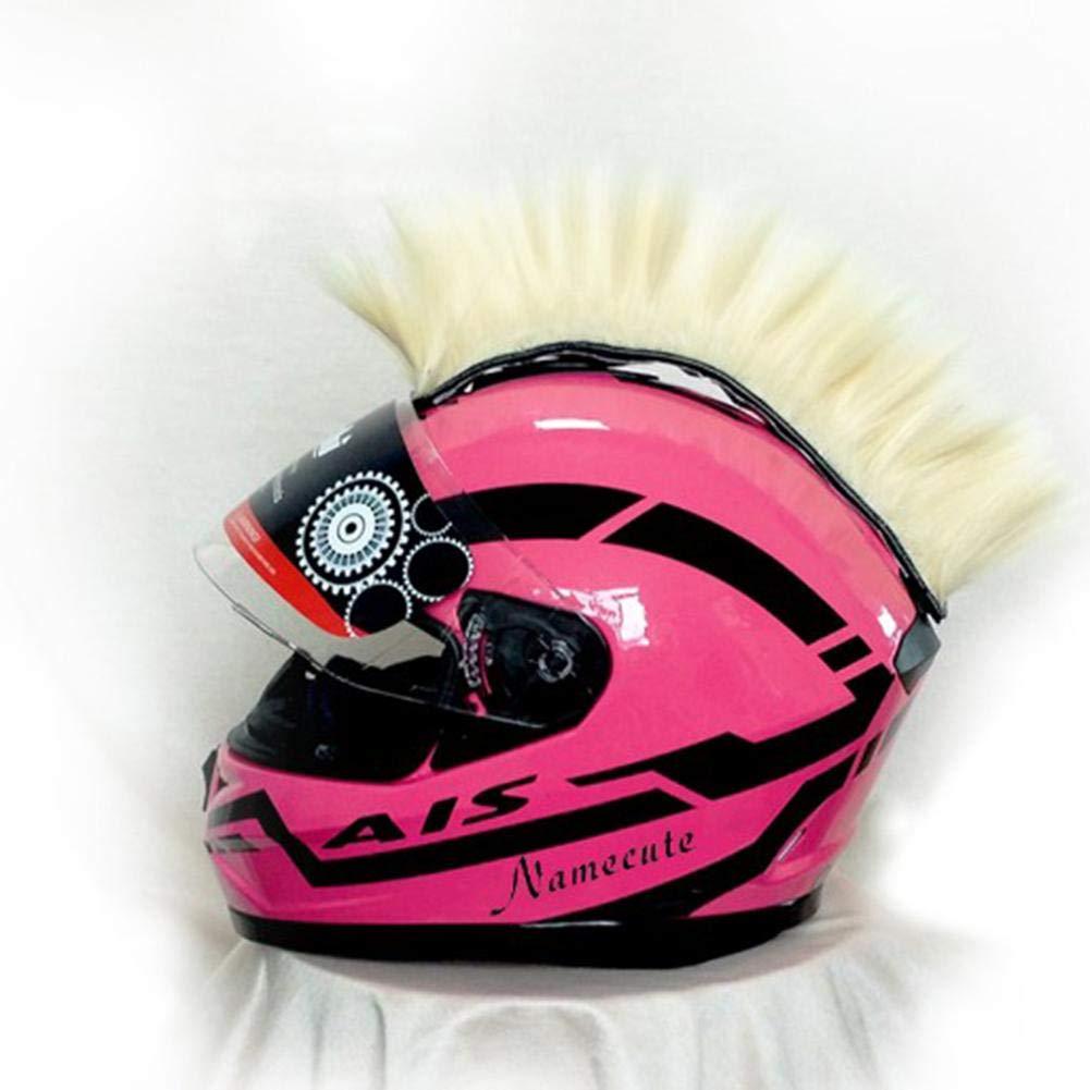 Welltobuy Mohawk Style Helmet Hair Colorful Cockscomb Modelado Peluca Halloween Motocicleta Casco Peluca Fibra qu/ímica