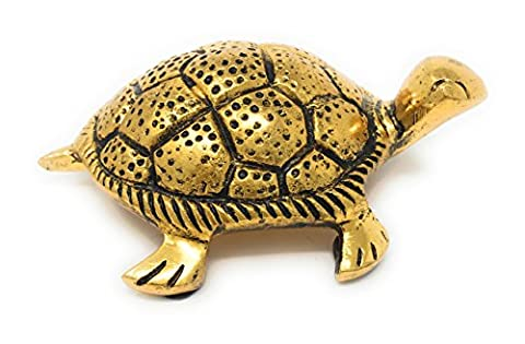 IHI Gold Gilded Aluminum Turtle Tabletop Figurine/Statue, 3.875L - Gold Polished Turtle