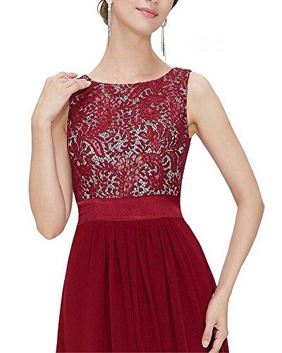 Moollyfox Vestido De La Gasa Mujeres Sin Mangas Elegante Del Cordón Vino Rojo