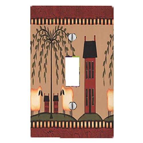 Got You Covered Country Primitive Willow Tree & Sheep Matching Light Switch Covers (1X Toggle)