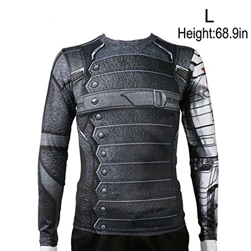 Rulercosplay Civil War Winter Soldier Shirt Long Sleeves Sport Shirt (L) Gray]()