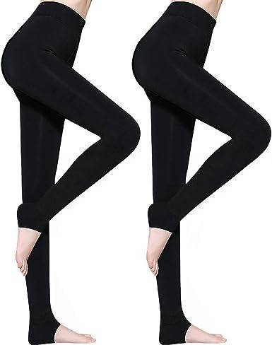 AimTop Lot de 2 Legging Femme Hiver, Legging Thermique Femme Legging Hiver, Leggings pour Femmes Pantalons Collants Élastiques Velours Taille Haute,