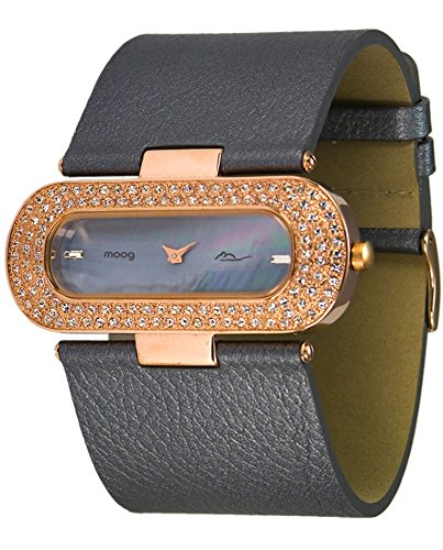 Moog Paris - Glam - Women's Watch with black dial, dark gray strap in Genuine calf leather, made in France - M44088-004