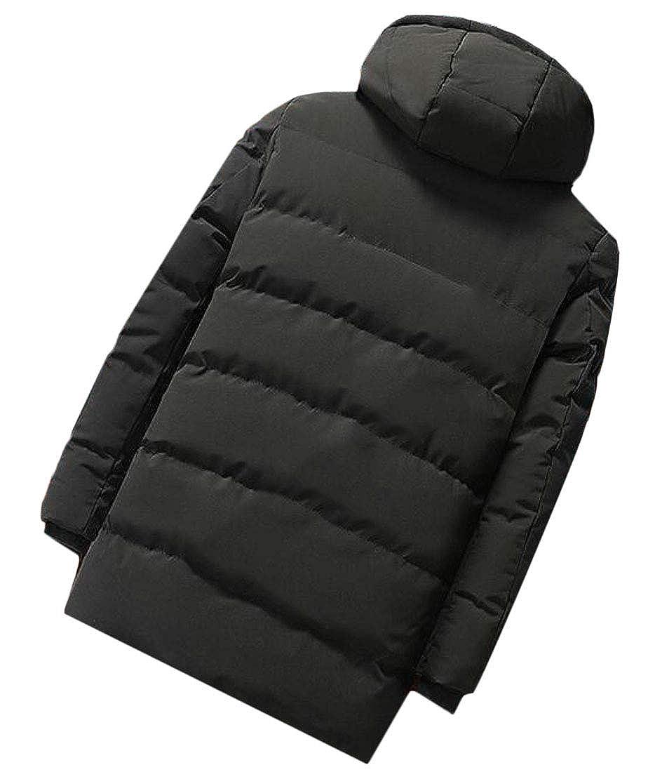 Macondoo Mens Puffer Thick Vogue Down Hooded Zipper Front Outdoor Parka Jacket Coat