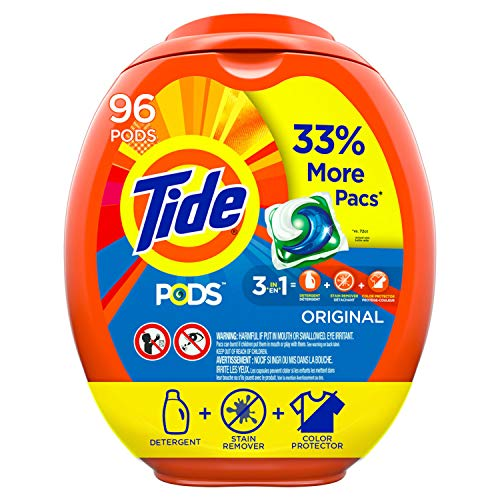 Tide PODS Laundry Detergent Liquid Pacs, Original Scent, HE Compatible, 96 Count (Packaging May Vary) ()