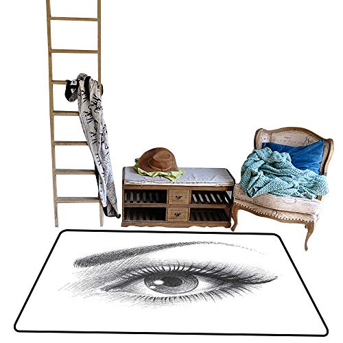 Custom Pattern Floor mat,Pencil Drawing Artwork of a Staring Female Eye with Long Lashes and a Curvy Eyebrow 39