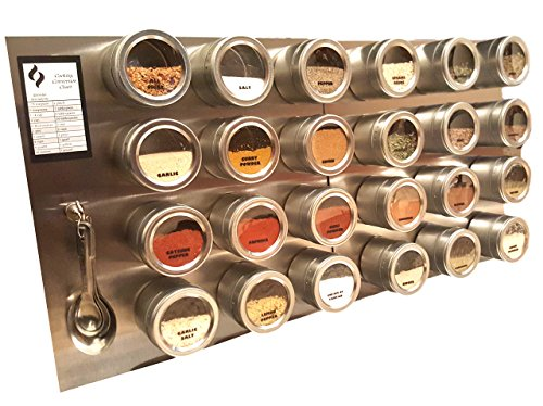 24 Tin Magnetic Spice Rack WITH Wall Plate and 30 Spice Labels (3.4 oz. Jars) plus 24 FREE CUSTOM PRINTED LABELS