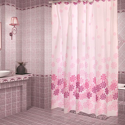 Polyester Waterproof Mildew Resistant Shower Curtain Liner, Pink Peach Flower Shower Curtains - Pink Bathroom Shower Curtain