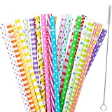 "30 Pieces Reusable Straws,BPA-Free,9"" Colorful Printing Hard Platic Stripe Drinking Straw for Mason Jar Tumbler,Family or Party Use,Cleaning Brush Included"