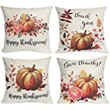 U-LOVE Happy Thanksgiving Decorative Pillow Cases Pumpkin Throw Pillow Covers Cotton Linen Square Cushion Cover 18x18 Inches,4Pack (Thanksgiving)