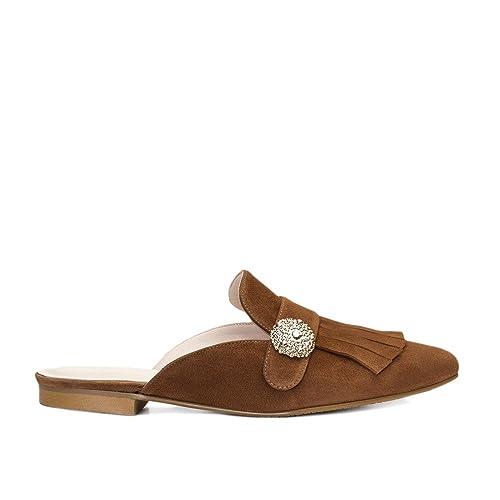 GENNIA Virginia Marron Cognac - Mocasines para Mujer de Cuero y con Mini Tacón de 1 cm: Amazon.es: Zapatos y complementos