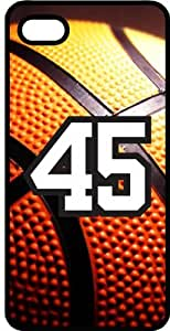 Basketball Sports Fan Player Number 45 Black Plastic Decorative iphone 5s Case