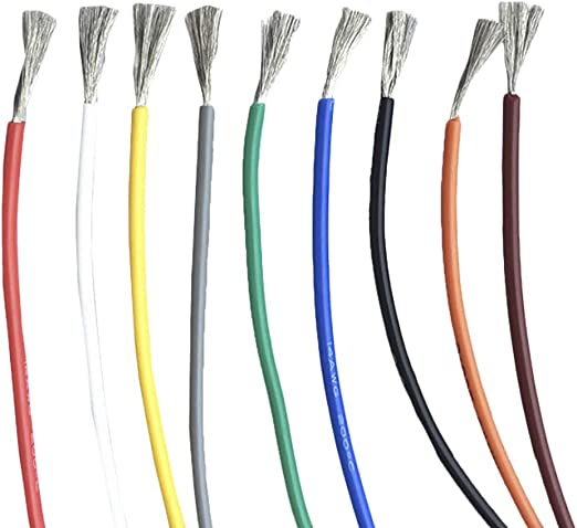 Black 22AWG 5m//16.40ft 30//28//26//24//22//20 AWG Flexible Stranded Silicone Electric Wire Cable